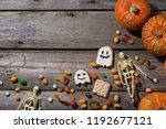 happy halloween pumpkins ...   Shutterstock . vector #1192677121