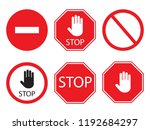stop signs collection in red... | Shutterstock .eps vector #1192684297