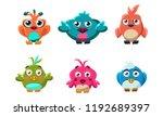 cute little birds set  funny... | Shutterstock .eps vector #1192689397