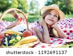 thoughtful cute little girl... | Shutterstock . vector #1192691137