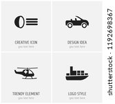 set of 4 editable transport...   Shutterstock .eps vector #1192698367