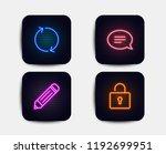 neon glow lights. set of pencil ... | Shutterstock .eps vector #1192699951