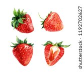 set of watercolor strawberries  ... | Shutterstock . vector #1192702627