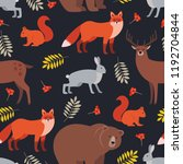 seamless pattern of forest... | Shutterstock .eps vector #1192704844