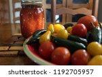 fresh garden tomatoes and...   Shutterstock . vector #1192705957