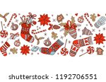merry christmas doodle seamless ... | Shutterstock .eps vector #1192706551