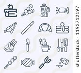 simple set of  16 outline icons ... | Shutterstock .eps vector #1192712197