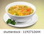 vegetable soup on a desk | Shutterstock . vector #1192712644