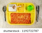 grade school lunch tray with... | Shutterstock . vector #1192722787