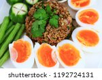 close up top view of thai food... | Shutterstock . vector #1192724131