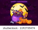cartoon bag with candy  set... | Shutterstock .eps vector #1192735474