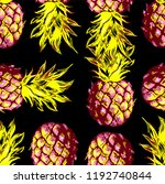 pineapples on a black... | Shutterstock .eps vector #1192740844