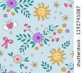 rainbow pattern   girls... | Shutterstock .eps vector #1192741087