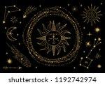 vector sun  moon  comet  zodiac ... | Shutterstock .eps vector #1192742974