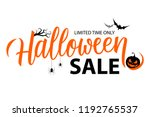 Stock vector halloween sale special offer banner template with hand drawn lettering for holiday shopping 1192765537