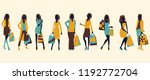 set of girls with shopping | Shutterstock .eps vector #1192772704