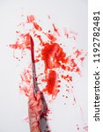 arm of a man painted red and... | Shutterstock . vector #1192782481