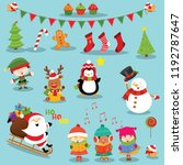 collection of cute christmas... | Shutterstock .eps vector #1192787647