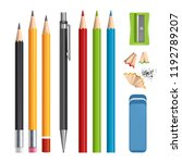 pencils set. stationery tools... | Shutterstock .eps vector #1192789207