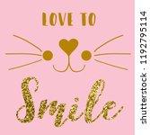 text cat heart gold glitter tee ...   Shutterstock .eps vector #1192795114