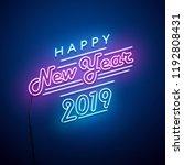 new year neon sign. vector... | Shutterstock .eps vector #1192808431