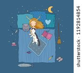 sleeping girl and cat. good... | Shutterstock .eps vector #1192814854