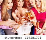 Group people with  champagne  at party. - stock photo