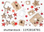 christmas flat lay. wrapped... | Shutterstock . vector #1192818781