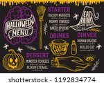 halloween menu with holiday... | Shutterstock .eps vector #1192834774