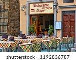 yellow facade of a building of... | Shutterstock . vector #1192836787
