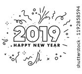 happy new year 2019 celebration ... | Shutterstock .eps vector #1192858594