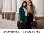 outdoor fashion portrait of two ... | Shutterstock . vector #1192869751