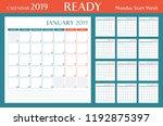 calendar for 2019 orange... | Shutterstock .eps vector #1192875397