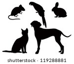 Stock vector vector silhouettes of pets 119288881