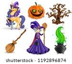 set of halloween concept  3d... | Shutterstock .eps vector #1192896874
