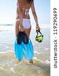 woman at sandy beach in cadiz... | Shutterstock . vector #119290699