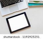 white blank screen tablet on... | Shutterstock . vector #1192925251