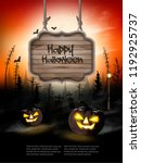 scary halloween background with ... | Shutterstock .eps vector #1192925737
