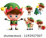boy christmas elf vector... | Shutterstock .eps vector #1192927507