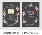 set of card with flower rose ... | Shutterstock .eps vector #1192943317