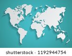world map grey in paper art... | Shutterstock .eps vector #1192944754