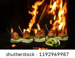 tasty bruschetta with salmon on ... | Shutterstock . vector #1192969987