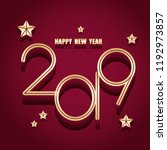 2019 happy new year with red... | Shutterstock .eps vector #1192973857