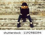 young halloween woman or girl... | Shutterstock . vector #1192980394