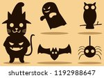 halloween animals silhouette... | Shutterstock .eps vector #1192988647