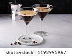 espresso martini in two glasses ...   Shutterstock . vector #1192995967