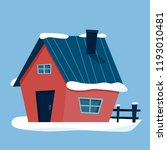 winter cottage house with snow. ... | Shutterstock .eps vector #1193010481