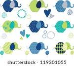 cute elephant seamless clipart | Shutterstock .eps vector #119301055