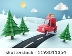 paper art of red car jumping on ... | Shutterstock .eps vector #1193011354