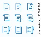 Stock vector document flat line icons set of agreement file application form and more editable stroke 1193042707